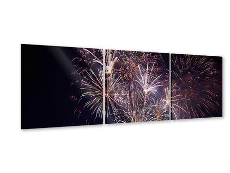 Panorama Acrylglasbild 3-teilig Feuerwerk