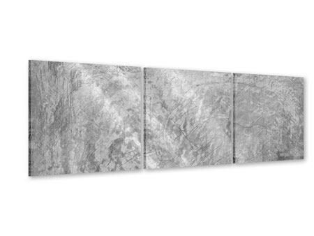 Panorama Acrylglasbild 3-teilig Wischtechnik in Grau