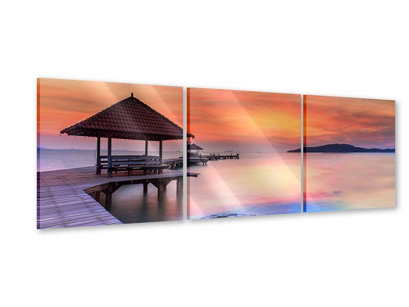 Panorama Acrylglasbild 3-teilig Paradiesische Brücke