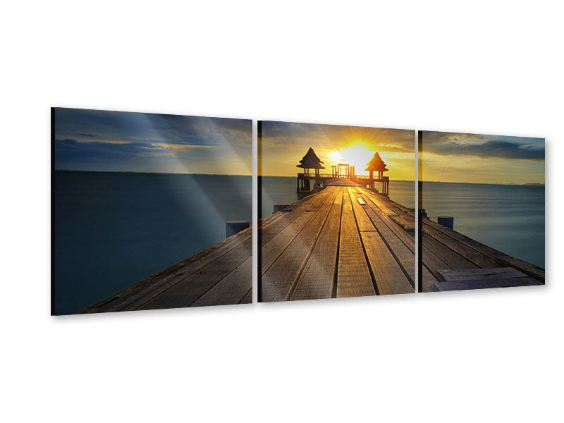 Panorama Acrylglasbild 3-teilig Der Sonnenuntergang bei der Holzbrücke