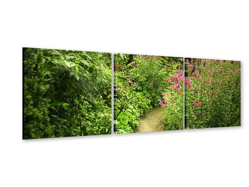 Panorama Acrylglasbild 3-teilig Gartenweg