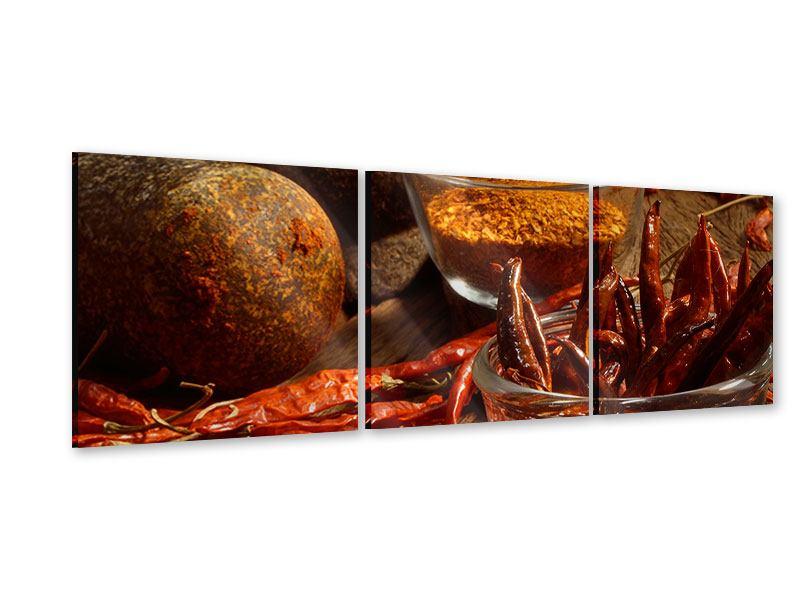 Panorama Acrylglasbild 3-teilig Chili