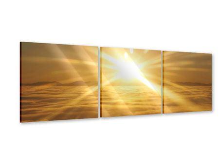 Panorama Acrylglasbild 3-teilig Über dem Wolkenmeer