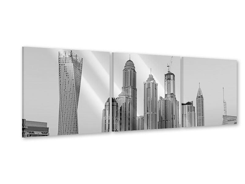 Panorama Acrylglasbild 3-teilig Majestätische Wolkenkratzer in Dubai