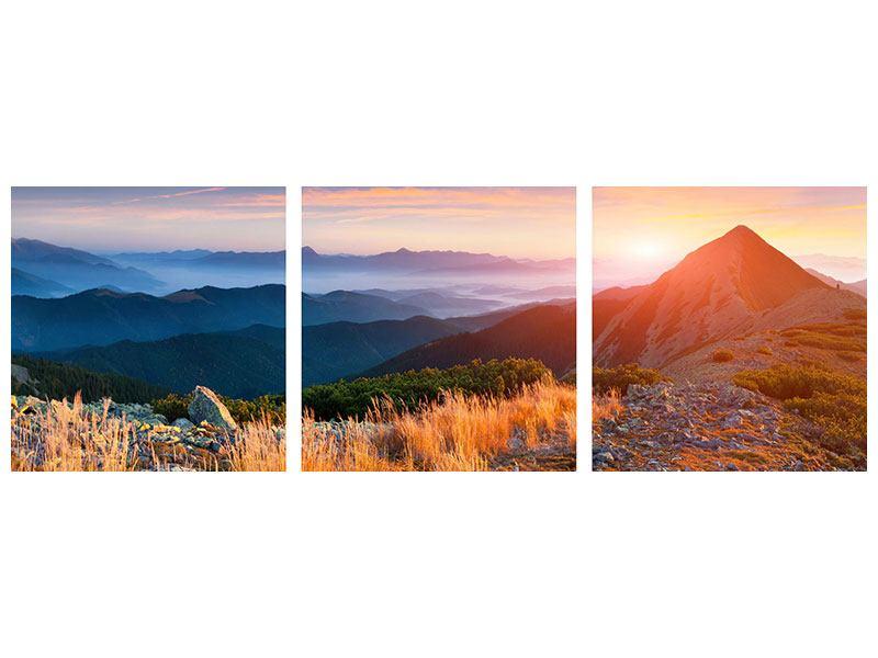 Panorama Acrylglasbild 3-teilig Sonnenuntergang in den Alpen