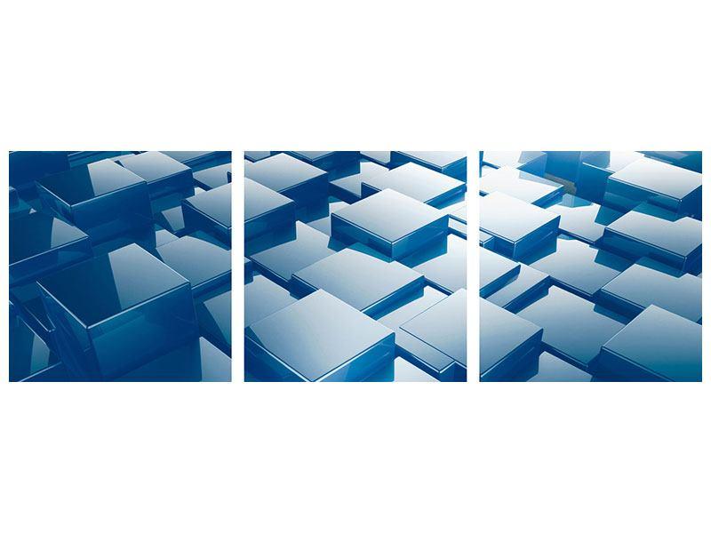 Panorama Acrylglasbild 3-teilig 3D-Cubes