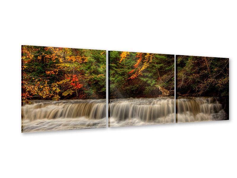 Panorama Acrylglasbild 3-teilig Herbst beim Wasserfall