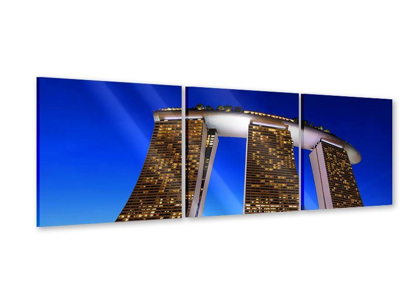 Panorama Acrylglasbild 3-teilig Wolkenkratzer Singapur