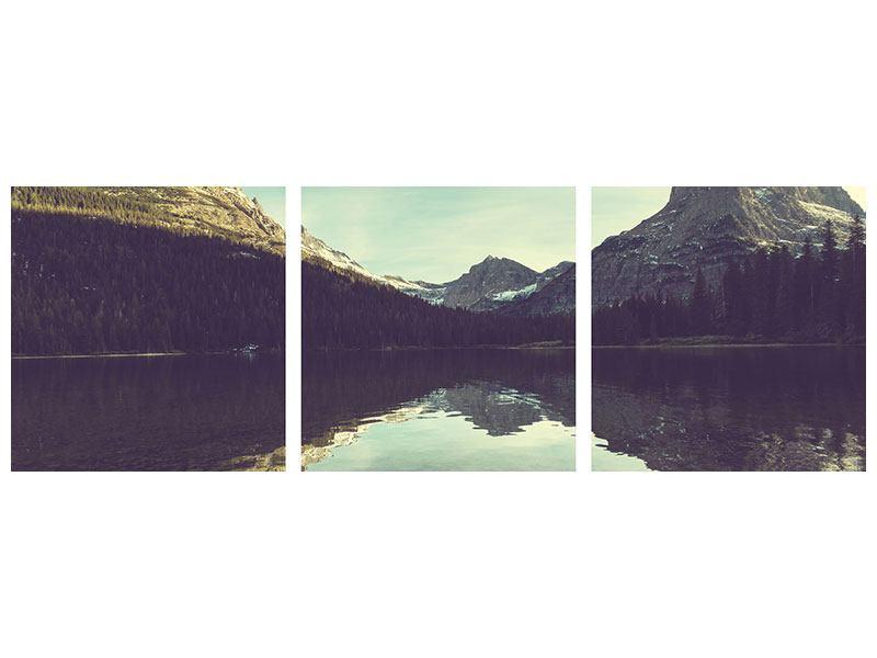 Panorama Acrylglasbild 3-teilig Spiegelung im Bergsee
