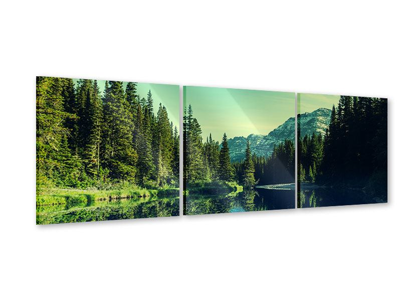 Panorama Acrylglasbild 3-teilig Die Musik der Stille in den Bergen