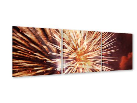 Panorama Acrylglasbild 3-teilig Close Up Feuerwerk