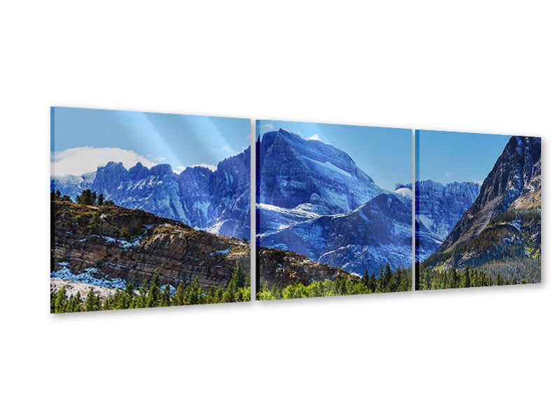 Panorama Acrylglasbild 3-teilig Dem Gipfel entgegen