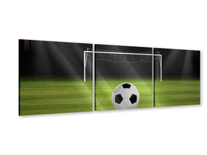 Panorama Acrylglasbild 3-teilig Fussball-Tor