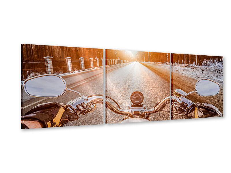 Panorama Acrylglasbild 3-teilig Auf dem Motorrad