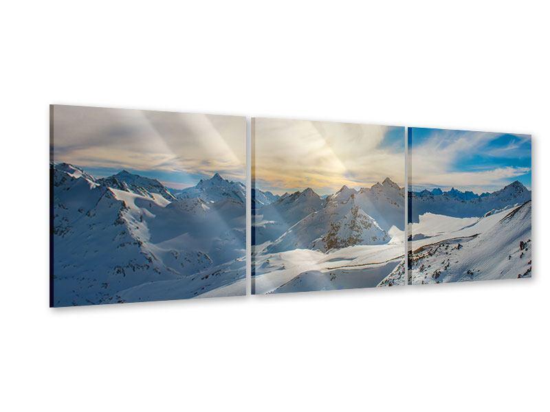 Panorama Acrylglasbild 3-teilig Über den verschneiten Gipfeln