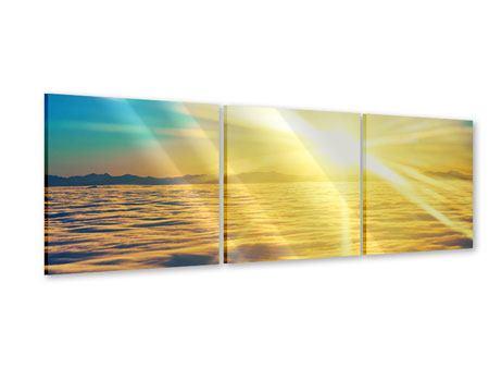 Panorama Acrylglasbild 3-teilig Sonnenuntergang über den Wolken