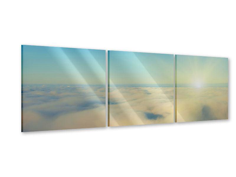 Panorama Acrylglasbild 3-teilig Dämmerung über den Wolken