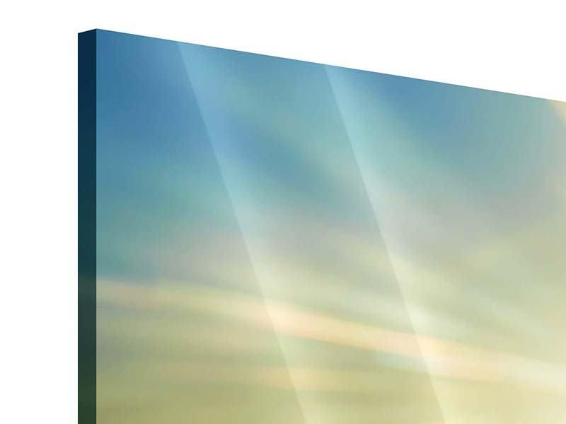 Panorama Acrylglasbild 3-teilig Sonnenaufgang über den Wolken