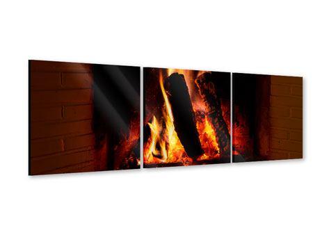 Panorama Acrylglasbild 3-teilig Feuer im Kamin