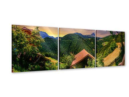 Panorama Acrylglasbild 3-teilig Schweizer Berge im Sommer