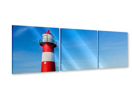 Panorama Acrylglasbild 3-teilig Sommer beim Leuchtturm