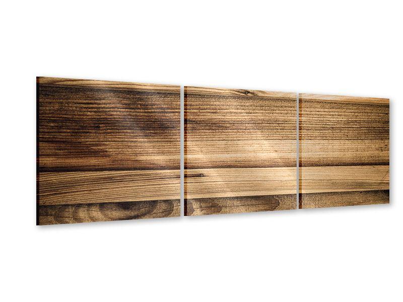 Panorama Acrylglasbild 3-teilig Holztrend