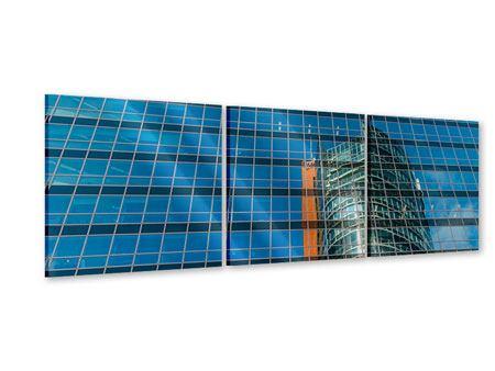 Panorama Acrylglasbild 3-teilig Wolkenkratzer-Spiegel
