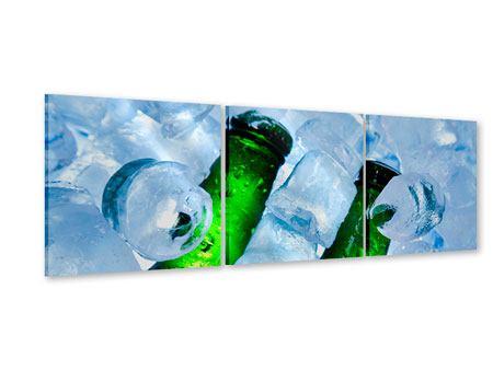 Panorama Acrylglasbild 3-teilig Eisflaschen