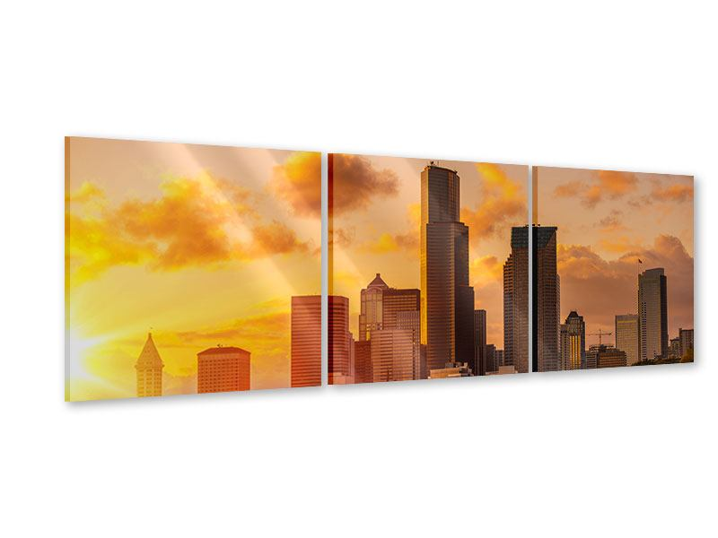 Panorama Acrylglasbild 3-teilig Skyline Washington