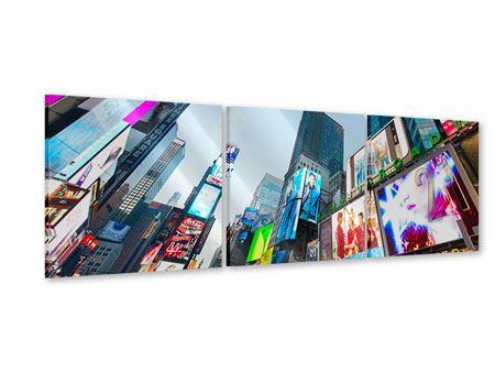 Panorama Acrylglasbild 3-teilig Shopping in NYC