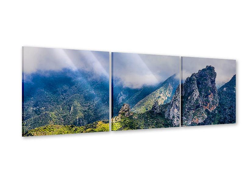 Panorama Acrylglasbild 3-teilig Der stille Berg