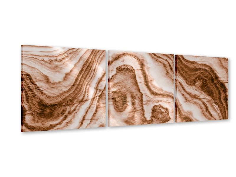 Panorama Acrylglasbild 3-teilig Marmor in Sepia