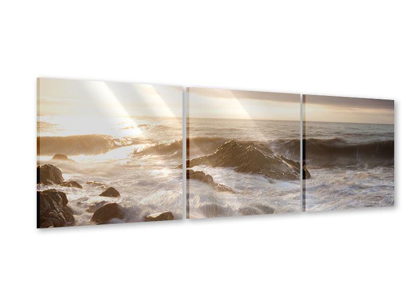 Panorama Acrylglasbild 3-teilig Meeresbrandung
