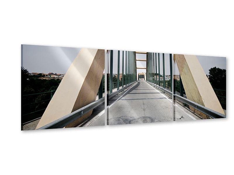 Panorama Acrylglasbild 3-teilig Imposante Hängebrücke