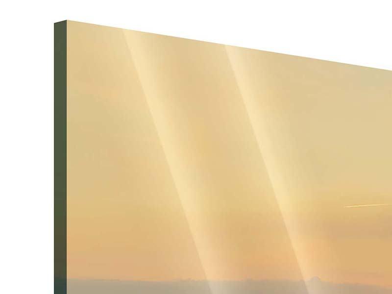 Panorama Acrylglasbild 3-teilig Skyline Köln bei Sonnenuntergang