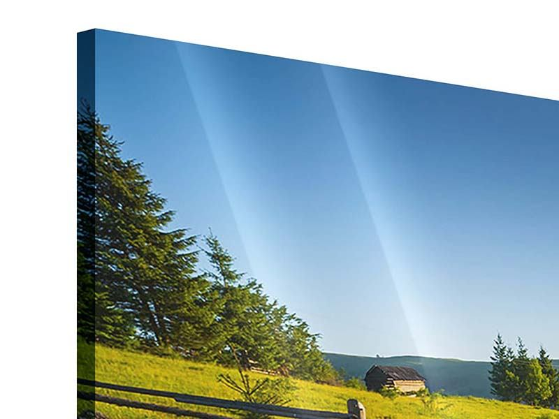 Panorama Acrylglasbild 3-teilig Sonnenaufgang am Berg