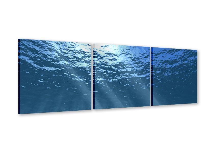Panorama Acrylglasbild 3-teilig Sonnenstrahlen unter Wasser