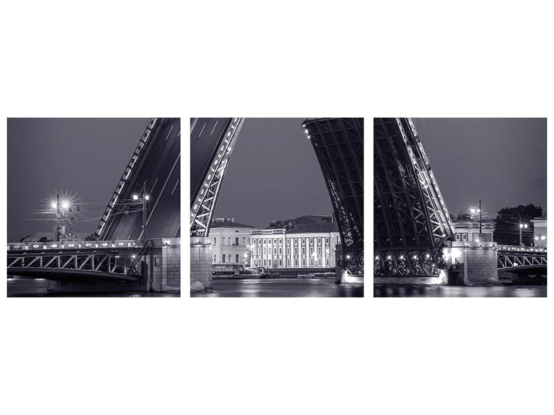 Panorama Acrylglasbild 3-teilig Klappbrücke bei Nacht