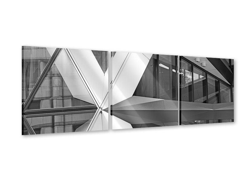 Panorama Acrylglasbild 3-teilig Teil eines Wolkenkratzers