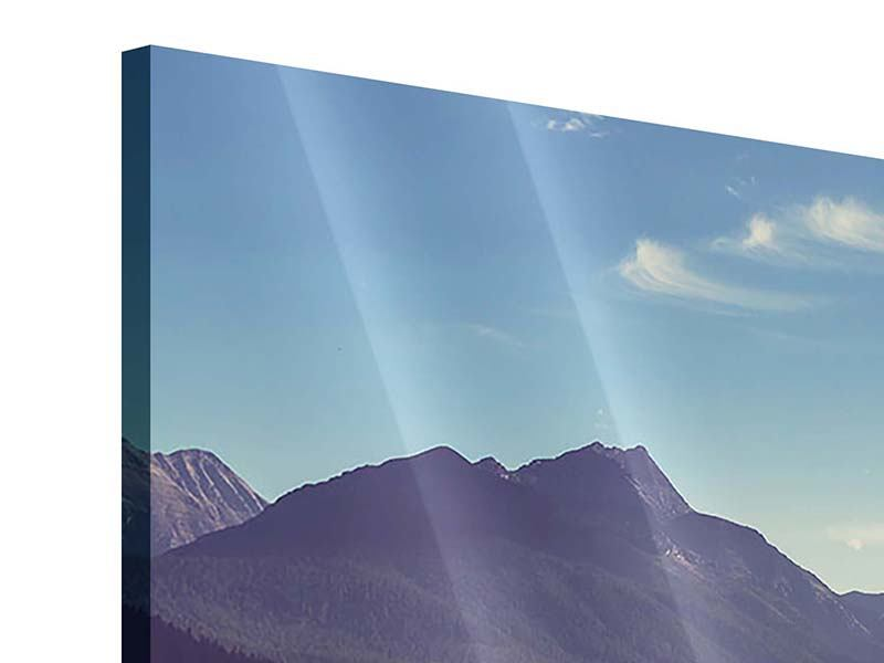 Panorama Acrylglasbild 3-teilig Bergspiegelung