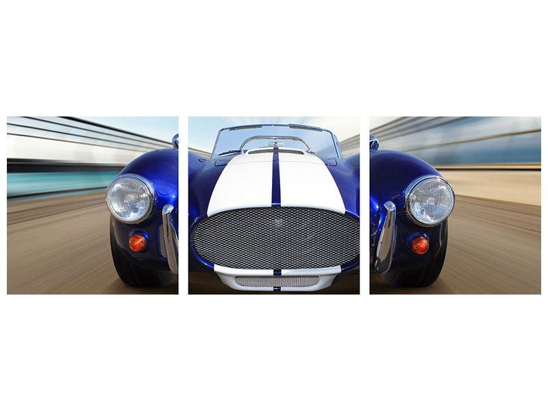 Panorama Acrylglasbild 3-teilig Rennwagen