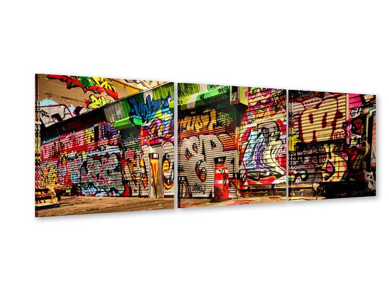 Panorama Acrylglasbild 3-teilig NY Graffiti