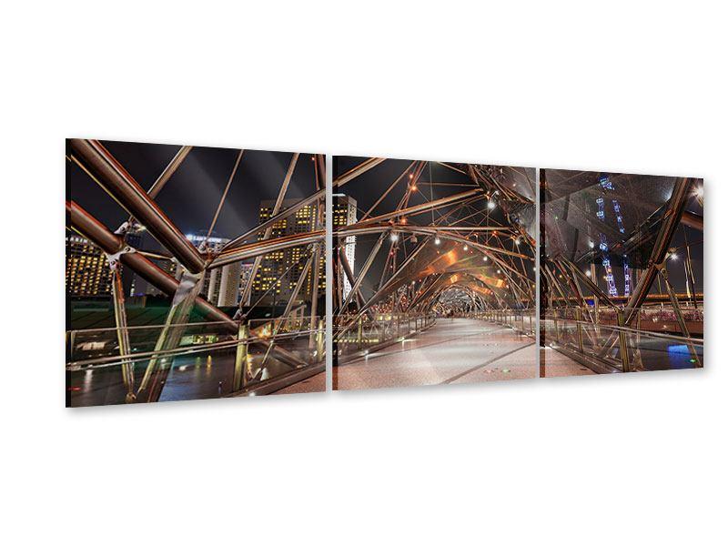 Panorama Acrylglasbild 3-teilig Brückenlichter