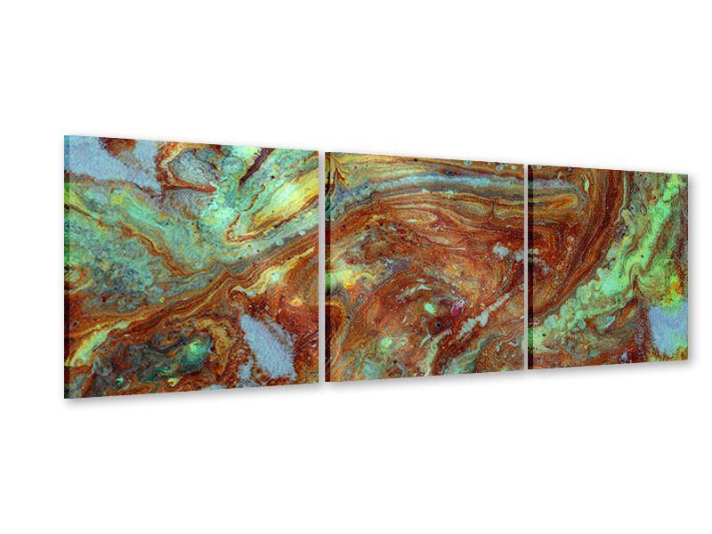 Panorama Acrylglasbild 3-teilig Marmor in Grün