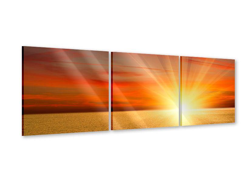Panorama Acrylglasbild 3-teilig Der Sonnenuntergang