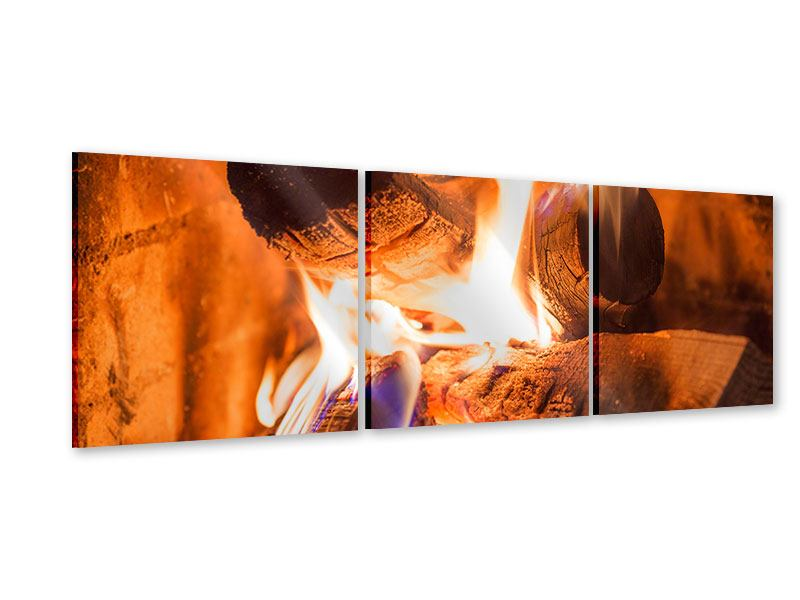 Panorama Acrylglasbild 3-teilig Kaminfeuer
