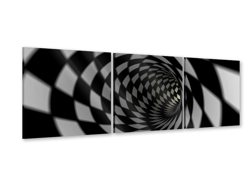 Panorama Acrylglasbild 3-teilig Abstrakter Tunnel Black & White