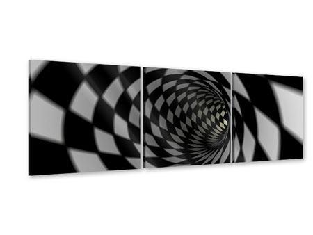 Panorama Acrylglasbild 3-teilig Abstrakter Tunnel Black & White