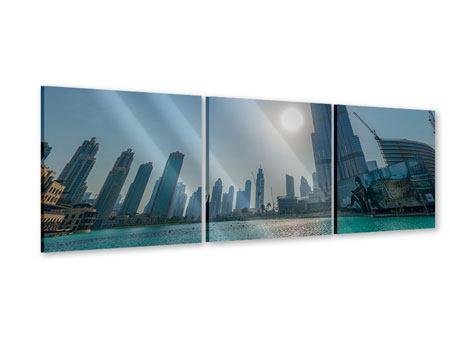 Panorama Acrylglasbild 3-teilig Wolkenkratzer-Architektur Dubai
