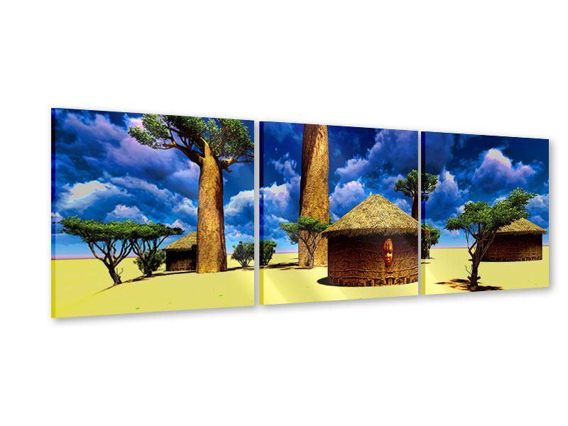 Panorama Acrylglasbild 3-teilig Ein Dorf in Afrika